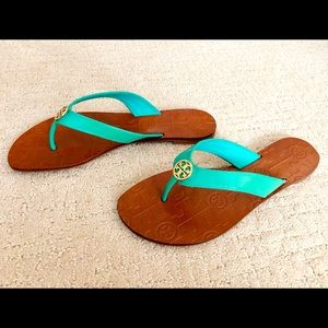 Tory Burch Turquoise T Throne Flip Flap Sandal sz6